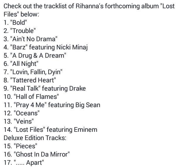 Rihanna Releases New Album Early After Tracklist is Leaked ...